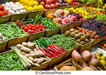 kleurrijke, groentes, fruit, gevarieerd, vruchten, fris, markt