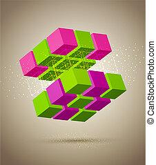 kleurrijke, kubus, abstract
