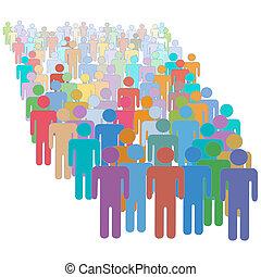 kleurrijke, mensenmenigte, samen, velen, anders, groot