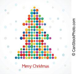 kleurrijke, model, abstract, boompje, doted, kerstmis