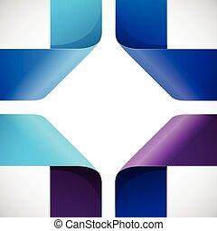 kleurrijke, moebius, papier, achtergrond, origami, witte , driehoeken