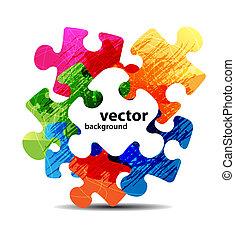 kleurrijke, raadsel, vorm, vector, ontwerp, abstract