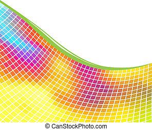 kleurrijke, space., achtergrond, witte , kopie, mozaïek