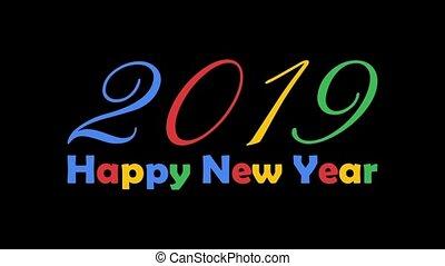 kleurrijke, tekst, animation., vrijstaand, nieuw, achtergrond., helder, black , jaar, 2019, witte , vrolijke