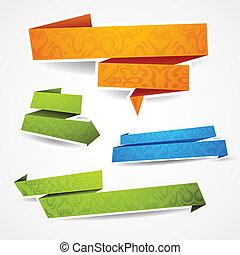 kleurrijke, tekst, banieren, papier, verfraaide, jouw
