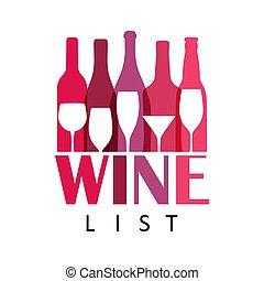 kleurrijke, template., icon., alcohol, bar, fles, concept, abstract, vector, ontwerp, menu, dranken, feestje, viering, glas, holidays., wijntje, logo