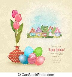 kleurrijke, tulpen, eitjes, groet, vaas, ouderwetse , kaart