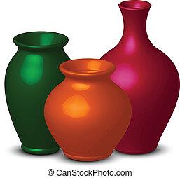 kleurrijke, vazen