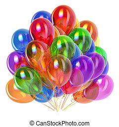 kleurrijke, versiering, verjaardagsfeest, veelkleurig, ballons