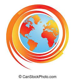 klimatisch, wereld, reheating, kaart