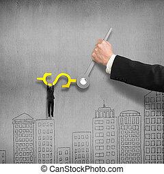 klok, muur, geld, handen, illustratie, meldingsbord, beton, achtergrond, een ander, vasthouden, grijpen, man, 3d