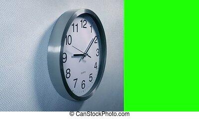 klok, muur, greenscreen, cutout