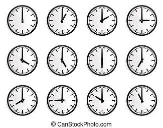 klok, muur, zone, vector, tijd, wereld
