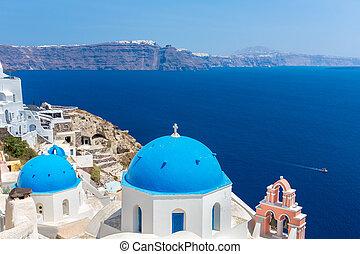klok, santorini, toren, eiland, griekse , koepels, kreta, zee, klassiek, eiland, aanzicht, spinalonga, middellandse zee, greece., meest, beroemd, kerk, orthodox