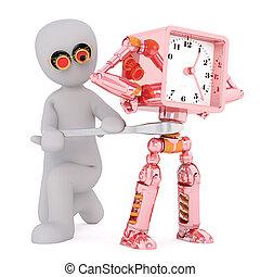 klok, uitvinding, robotachtig, uitvinder, spotprent, man