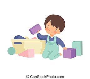 klusjes, schattig, zijn, zittende , poetsen, jongen, op, illustratie, speelgoed, housework, vector, vloer, thuis, geitje