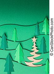 knallen, bomen, achtergrond., uit, kerstmis, 3d, kunstwerk, groene, papier