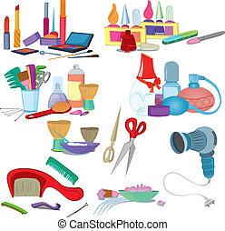 knapheid salon, borstels, op, maken, set, pictogram, manicure