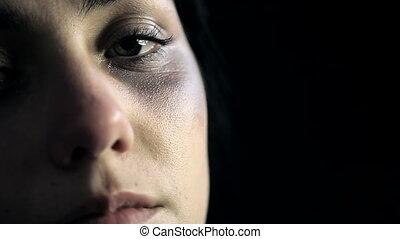 kneuzingen, schreeuwende vrouw, na, dom