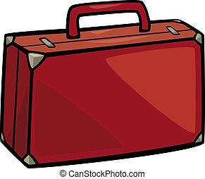 knip kunst, spotprent, illustratie, koffer