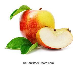 knippen, appel, bladeren, groene, vruchten, rood
