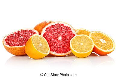 knippen, citroen, grapefruit, vruchten, sinaasappel, fris