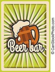 knippen, mal, vector, illustratie, papier, ouderwetse , poster, bier, bar
