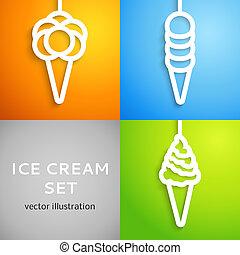 knippen, pictogram, paper., illustratie, vector, ijs, wit uit, room