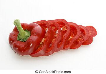 knippen, schijfen, een, fris, paprika, rood