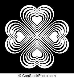 knoop, hart, -, keltisch, stylized, witte