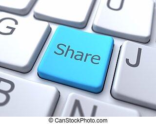 knoop, share-blue, toetsenbord