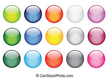 knopen, glas, glanzend, glanzend, iconen