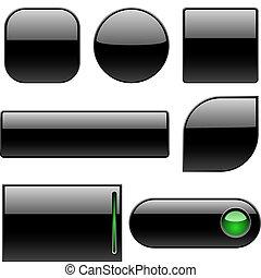 knopen, leeg, black , plastic