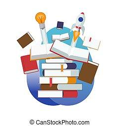 knowledge., plat, via, books., idee, illustratie, opleiding, start, vector, ontwerp, gesloten, nieuw, stapel, open, leren