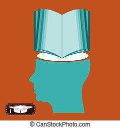 knowledge., symbool, verstand, education., boek, student., nieuw, open, bibliotheek