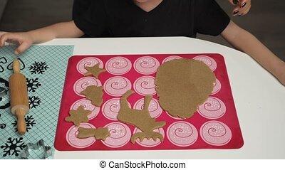 koekjes, bakken, krijgen, samen, zoon, kleine, moeder, gereed, kerstmis, gignger