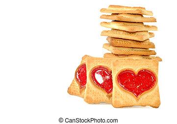 koekjes, hart, rood