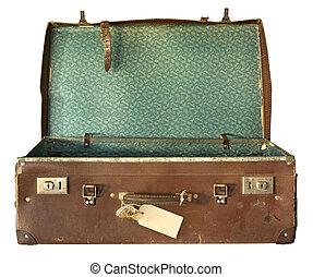 koffer, open, ouderwetse