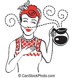koffie, 1950s, ouderwetse , pot, retro, mamma