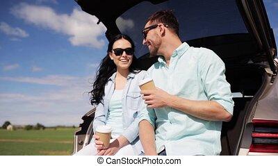 koffie, auto, paar, 39, romp, hatchback, vrolijke