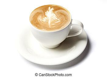 koffie, barista, kop, op, vrijstaand, witte