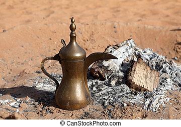 koffie, bedouin, pot, kamp, traditionele , arabisch, woestijn