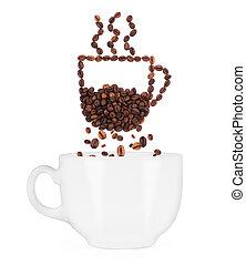 koffie bonen, witte , cup., het vallen