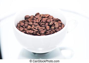 koffie bonen, witte kop