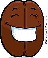 koffie boon, het glimlachen