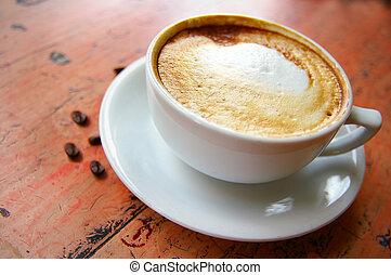 koffie, cappuccino, bonen, frothy, kop
