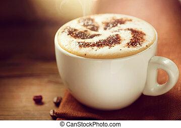 koffie, cappuccino, kop, latte, of, cappuccino.