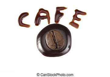 koffie, chocolade, gespetter, bonen, closeup, room