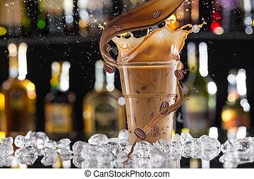 koffie drinken, ijs, bonen, splash., koude