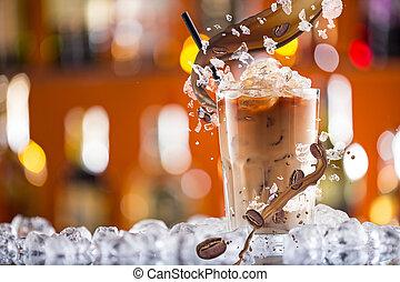 koffie drinken, ijs, gespetter, bonen, koude